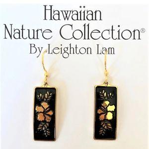 Hawaiian Hibiscus Flower Earrings 14k Gold
